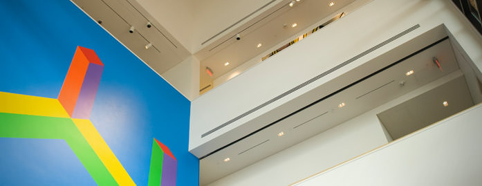 Museum atrium featuring Sol LeWitt's Wall Drawing #995|© 2009 The LeWitt Estate / Artists Rights Society (ARS), New York