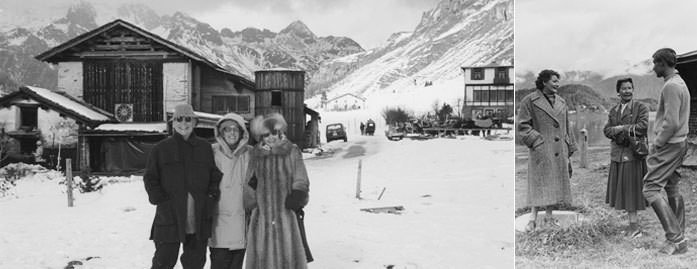 Hans Bechtler, Odette Giacometti, and Bessie Bechtler in the Engadin, 1985 / Ms. Kirmess, Bessie Bechtler, and Andreas Bechtler